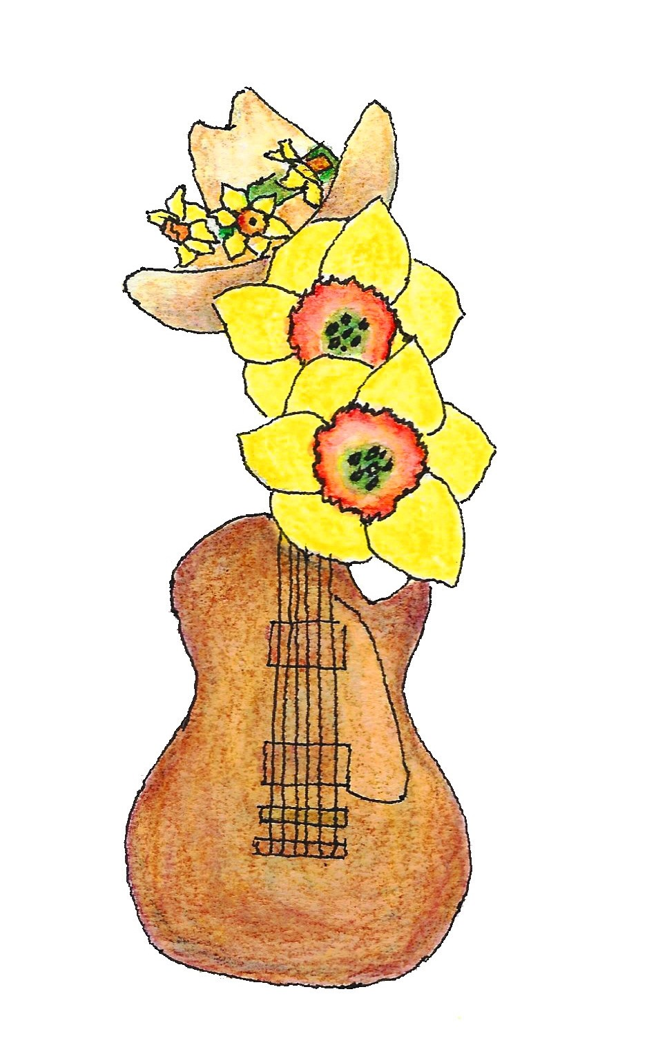ADS 2018 logo of guitar with daffodils